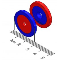 "Center Alignment Polymagnet pair - Long Range - #6 CTSK - 1"" Diameter"