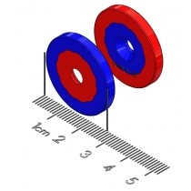 "Center Alignment Polymagnet pair - Long Range - M4 CTSK - 1"" Diameter"