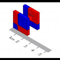 "Bi-directional Alignment Polymagnet pair - #4 ctsk - 0.75"" square"