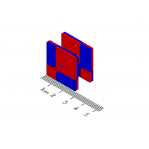 "Bi-directional Alignment Polymagnet pair - #6 ctsk - 1"" square"