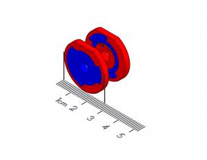 "Spring-Latch Polymagnet pair - center hole - 1"" D-shape"