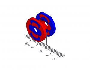 "Twist/Release Polymagnet pair - 90 degree - M4 ctsk - 1"" diameter"